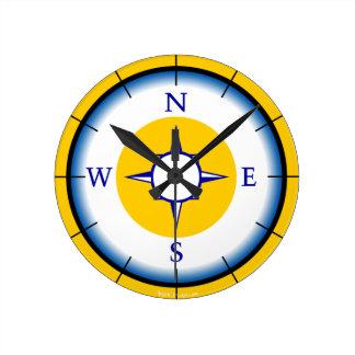 Nautical Compas Blue, White, Gold Wall Clock