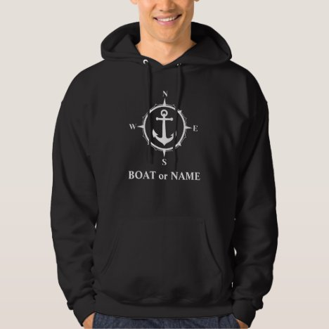 Nautical Compass Anchor Your Boat or Name Black Hoodie