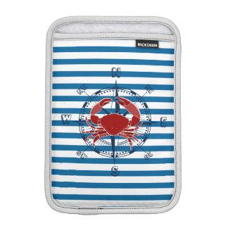 Nautical Compass and Crab Blue and White Stripe iPad Mini Sleeve