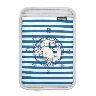 Nautical Compass and Crab Blue and White Stripe iPad Mini Sleeves