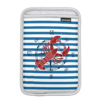 Nautical Compass and Lobster Blue and White Stripe iPad Mini Sleeve