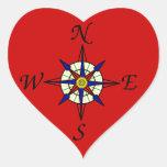 Nautical Compass Heart Sticker