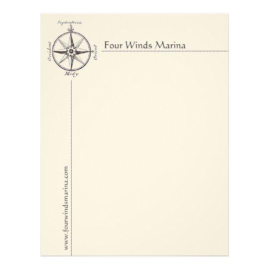 Nautical Compass Letterhead for Marina, Yacht Club