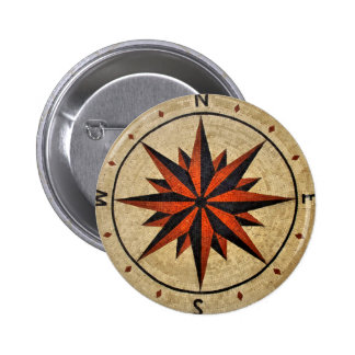Nautical Compass Mosaic Decor Pinback Buttons