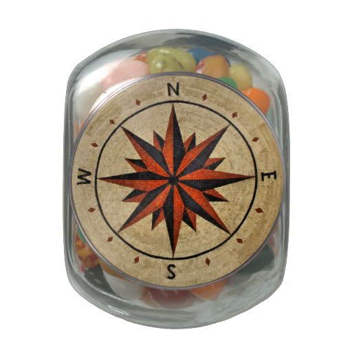 Nautical Compass Mosaic Decor Jelly Belly Candy Jar