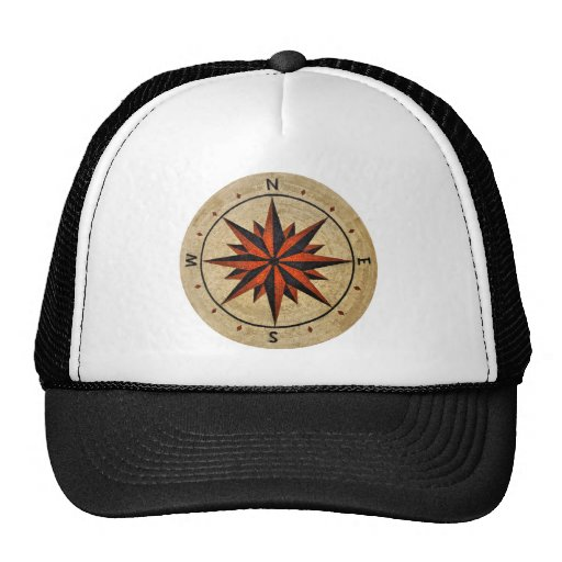 Nautical Compass Mosaic Decor Mesh Hats