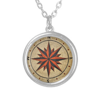 Nautical Compass Mosaic Decor Silver Plated Necklace