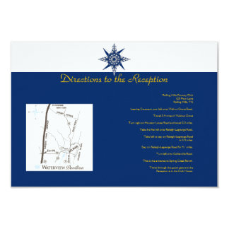 Nautical Compass Navy Yellow Wedding Directions 3.5x5 Paper Invitation Card