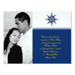 Nautical Compass Navy Yellow Wedding Engagement Personalized Announcements