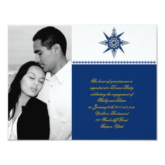 Nautical Compass Navy Yellow Wedding Engagement 4.25x5.5 Paper Invitation Card