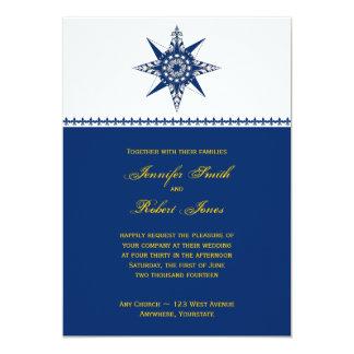 "Nautical Compass Navy Yellow Wedding Invitation 5"" X 7"" Invitation Card"