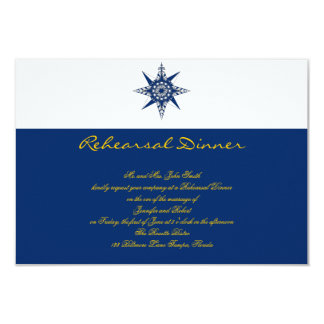 Nautical Compass Navy Yellow Wedding Rehearsal 3.5x5 Paper Invitation Card