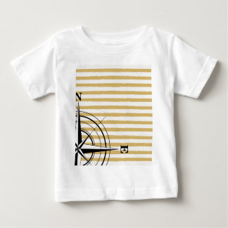 Nautical Compass NSEW Stripes Ivory Taupe Black Baby T-Shirt
