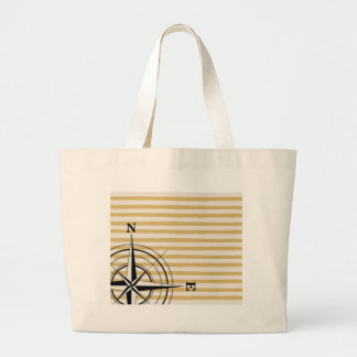 Nautical Compass NSEW Stripes Ivory Taupe Black Large Tote Bag