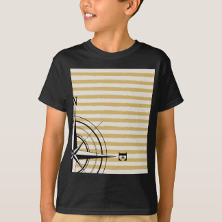 Nautical Compass NSEW Stripes Ivory Taupe Black T-Shirt