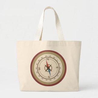 Nautical Compass On Vintage Retro Blue Cream Brown Bags
