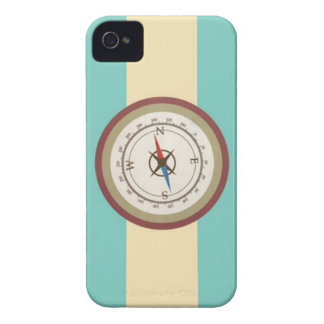 Nautical Compass On Vintage Retro Blue Cream Brown iPhone 4 Case-Mate Cases