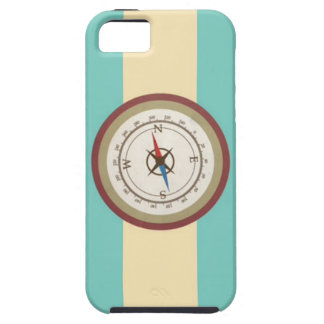 Nautical Compass On Vintage Retro Blue Cream Brown iPhone 5 Cases
