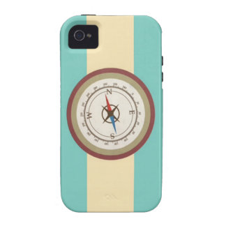 Nautical Compass On Vintage Retro Blue Cream Brown iPhone 4/4S Covers