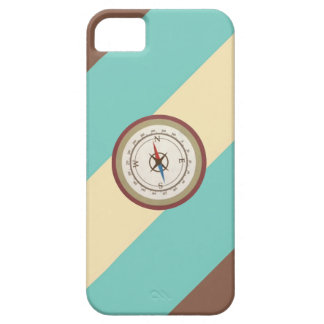 Nautical Compass On Vintage Retro Blue Cream Brown iPhone 5 Covers