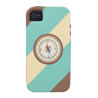 Nautical Compass On Vintage Retro Blue Cream Brown Vibe iPhone 4 Cases