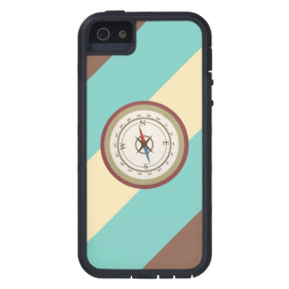 Nautical Compass On Vintage Retro Blue Cream Brown Cover For iPhone 5