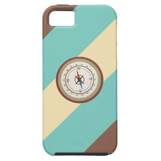 Nautical Compass On Vintage Retro Blue Cream Brown iPhone 5 Cover