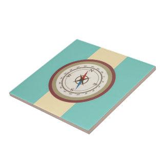 Nautical Compass On Vintage Retro Blue Cream Brown Ceramic Tile