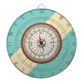 Nautical Compass On Vintage Retro Blue Cream Brown Dart Boards