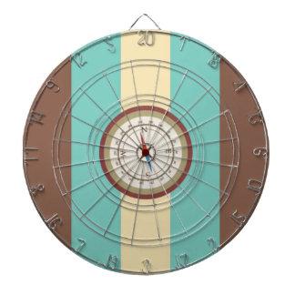 Nautical Compass On Vintage Retro Blue Cream Brown Dartboard