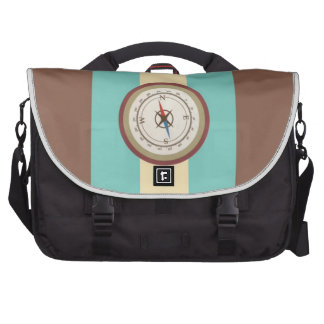 Nautical Compass On Vintage Retro Blue Cream Brown Commuter Bags
