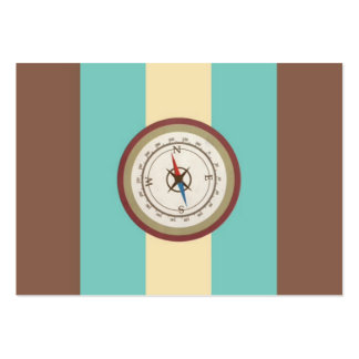 Nautical Compass On Vintage Retro Blue Cream Brown Large Business Card