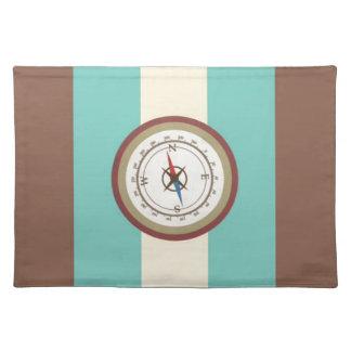 Nautical Compass On Vintage Retro Blue Cream Brown Place Mats