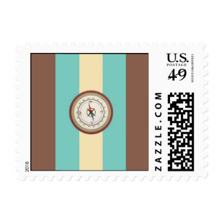 Nautical Compass On Vintage Retro Blue Cream Brown Postage Stamps