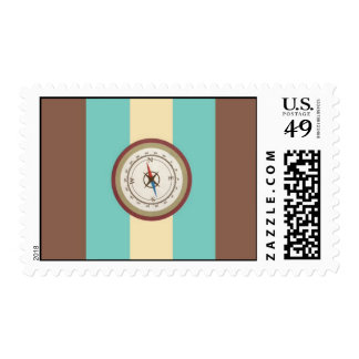 Nautical Compass On Vintage Retro Blue Cream Brown Postage