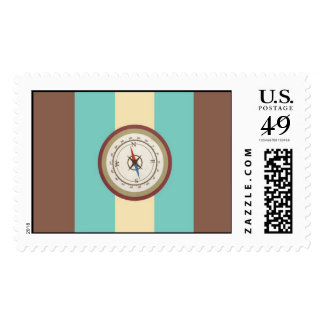 Nautical Compass On Vintage Retro Blue Cream Brown Stamps