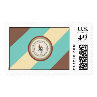 Nautical Compass On Vintage Retro Blue Cream Brown Stamp