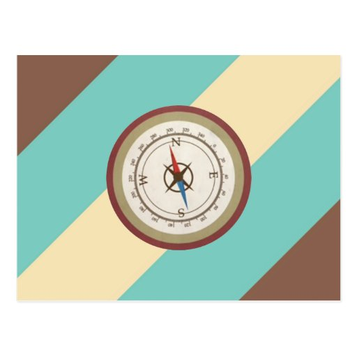 Nautical Compass On Vintage Retro Blue Cream Brown Postcards