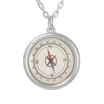Nautical Compass On Vintage Retro Blue Cream Brown Silver Plated Necklace