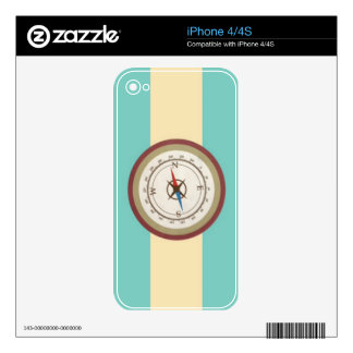 Nautical Compass On Vintage Retro Blue Cream Brown Decal For iPhone 4S