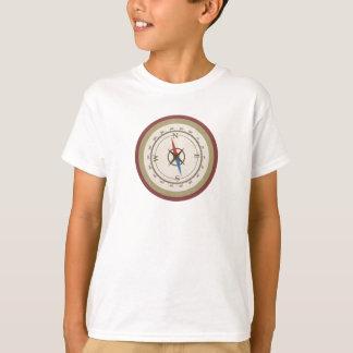Nautical Compass On Vintage Retro Blue Cream Brown T-Shirt