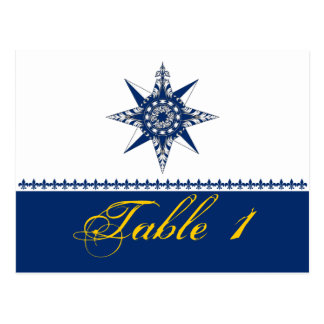 Nautical Compass Rose Navy Wedding Table Number Postcard
