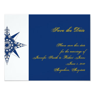 Nautical Compass Rose Navy Yellow Save the Date 4.25x5.5 Paper Invitation Card