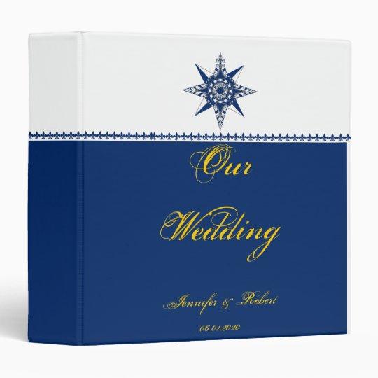 Nautical Compass Rose Navy Yellow Wedding Binder