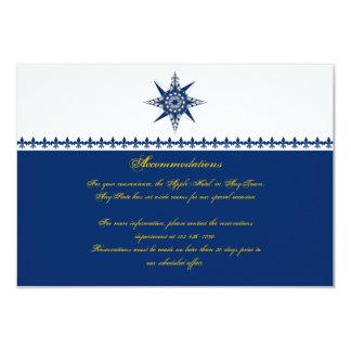 Nautical Compass Rose Navy Yellow Wedding Insert Invitations