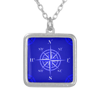 Nautical Compass Rose Silver Plated Necklace