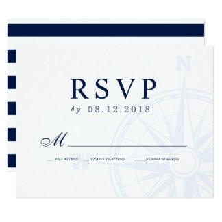 Nautical Compass Rose Wedding RSVP Card
