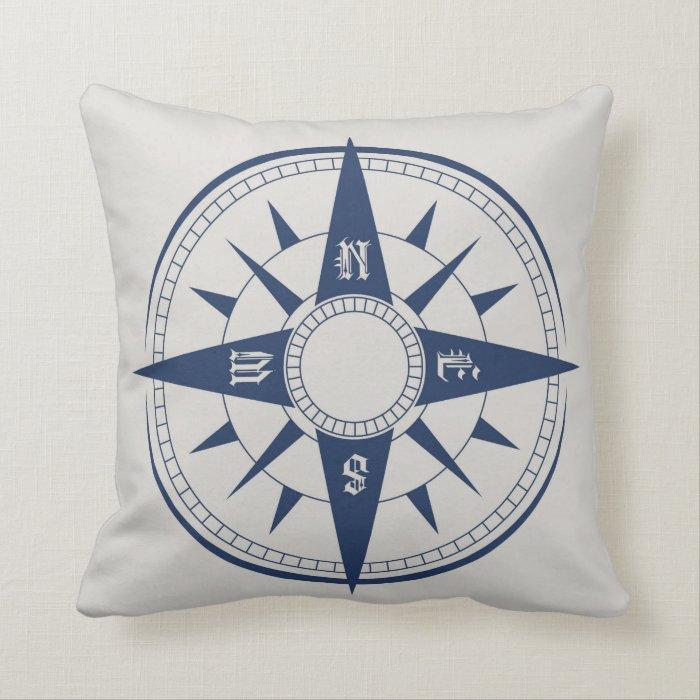 Throw Pillow Nautical : Nautical Compass Throw Pillow Zazzle