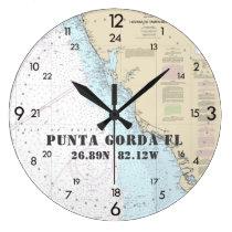 Nautical Coordinates Punta Gorda Florida  24-Hour Large Clock