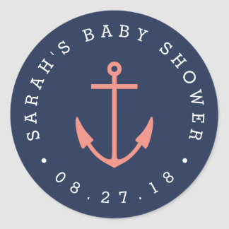 Nautical Coral and Navy Anchor Baby Shower Classic Round Sticker